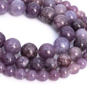 Shop Lepidolite Round Beads! Genuine Natural Lepidolite Loose Beads Grade A Heather Purple Round Shape 6-7mm 8-7mm 9-10mm | Natural genuine round Lepidolite beads for beading and jewelry making.  #jewelry #beads #beadedjewelry #diyjewelry #jewelrymaking #beadstore #beading #affiliate #ad