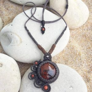 Shop Mahogany Obsidian Necklaces! mahogany obsidian bird necklace, micro macramé protection jewel, braided yarn plain necklace | Natural genuine Mahogany Obsidian necklaces. Buy crystal jewelry, handmade handcrafted artisan jewelry for women.  Unique handmade gift ideas. #jewelry #beadednecklaces #beadedjewelry #gift #shopping #handmadejewelry #fashion #style #product #necklaces #affiliate #ad
