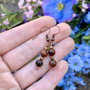 Shop Mahogany Obsidian Earrings! Mahogany Obsidian Gemstone Earrings, Burgundy Obsidian Bead Earrings, Simple Bead Earrings, Simple Crystal Earrings, Obsidian Jewelry | Natural genuine Mahogany Obsidian earrings. Buy crystal jewelry, handmade handcrafted artisan jewelry for women.  Unique handmade gift ideas. #jewelry #beadedearrings #beadedjewelry #gift #shopping #handmadejewelry #fashion #style #product #earrings #affiliate #ad