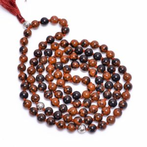 Shop Mahogany Obsidian Necklaces! Mahogany Obsidian 108 Japa Mala Beads-Natural Gemstone 108 Mala Beads Necklace, Hand Knotted 108 Mala Beads, Buddhist Prayer Necklace, Gift | Natural genuine Mahogany Obsidian necklaces. Buy crystal jewelry, handmade handcrafted artisan jewelry for women.  Unique handmade gift ideas. #jewelry #beadednecklaces #beadedjewelry #gift #shopping #handmadejewelry #fashion #style #product #necklaces #affiliate #ad
