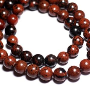 Shop Obsidian Bead Shapes! Wire 39cm 65pc env – stone beads – mahogany Obsidian Mahogany balls 6 mm | Natural genuine other-shape Obsidian beads for beading and jewelry making.  #jewelry #beads #beadedjewelry #diyjewelry #jewelrymaking #beadstore #beading #affiliate #ad