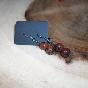 Shop Mahogany Obsidian Earrings! Mahogany Obsidian Sterling Silver 8mm Gemstone Earrings | Natural genuine Mahogany Obsidian earrings. Buy crystal jewelry, handmade handcrafted artisan jewelry for women.  Unique handmade gift ideas. #jewelry #beadedearrings #beadedjewelry #gift #shopping #handmadejewelry #fashion #style #product #earrings #affiliate #ad
