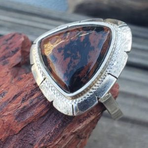Shop Mahogany Obsidian Rings! Mahogany Obsidian Sterling Silver Ring / Sterling Silver / Modernist / Ring / Triangle / 925 | Natural genuine Mahogany Obsidian rings, simple unique handcrafted gemstone rings. #rings #jewelry #shopping #gift #handmade #fashion #style #affiliate #ad