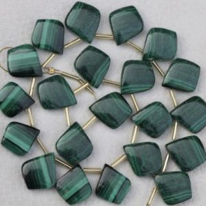 20 Pieces Smooth Leaf Malachite Gemstone Briolette Beads 14×17–15×18 Mm Approx..natural Malachite, Rare, Unique, Aa++ Quality, Fancy Kite | Natural genuine other-shape Gemstone beads for beading and jewelry making.  #jewelry #beads #beadedjewelry #diyjewelry #jewelrymaking #beadstore #beading #affiliate #ad