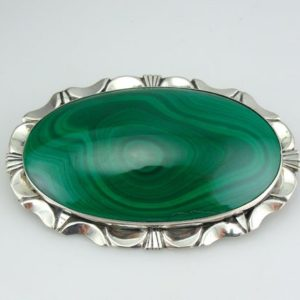 Shop Malachite Pendants! Bright Green Malachite Brooch or Pendant with Mid Century Sterling Frame  5LMYZ3-D | Natural genuine Malachite pendants. Buy crystal jewelry, handmade handcrafted artisan jewelry for women.  Unique handmade gift ideas. #jewelry #beadedpendants #beadedjewelry #gift #shopping #handmadejewelry #fashion #style #product #pendants #affiliate #ad