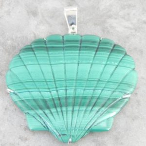 Shop Malachite Pendants! Large Malachite Carved Scallop Shell Statement Pendant VL3NY8-D | Natural genuine Malachite pendants. Buy crystal jewelry, handmade handcrafted artisan jewelry for women.  Unique handmade gift ideas. #jewelry #beadedpendants #beadedjewelry #gift #shopping #handmadejewelry #fashion #style #product #pendants #affiliate #ad