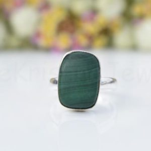 Shop Malachite Rings! Green Malachite Ring, Sterling Silver Ring, Cushion Stone Ring, Statement Ring, Cabochon Gemstone, Silver Band Ring, Natural Gemstone, Boho | Natural genuine Malachite rings, simple unique handcrafted gemstone rings. #rings #jewelry #shopping #gift #handmade #fashion #style #affiliate #ad