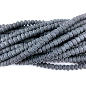 Shop Onyx Rondelle Beads! Matte Black Onyx Rondelle Beads 8x5mm 6x4mm, Natural Frosted Black Agate Gemstone Beads Mala Beads, Agate Rondelle Spacer Beads, Yoga Beads | Natural genuine rondelle Onyx beads for beading and jewelry making.  #jewelry #beads #beadedjewelry #diyjewelry #jewelrymaking #beadstore #beading #affiliate #ad