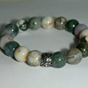 Shop Ocean Jasper Bracelets! Mens Stone Bracelet, Ocean Jasper Bracelet, Mens Gemstone Bracelet with Stainless Steel Celtic Bead, Happy, Optimistic, Soothing | Natural genuine Ocean Jasper bracelets. Buy handcrafted artisan men's jewelry, gifts for men.  Unique handmade mens fashion accessories. #jewelry #beadedbracelets #beadedjewelry #shopping #gift #handmadejewelry #bracelets #affiliate #ad