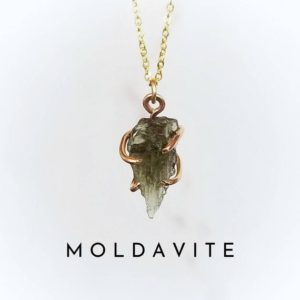 MOLDAVITE Necklace | Raw Moldavite Necklace Gold or Sterling Silver | Limited Stock .5 gram – 1.5 gram | Certified Moldavite | Meteor Stone | Natural genuine Gemstone necklaces. Buy crystal jewelry, handmade handcrafted artisan jewelry for women.  Unique handmade gift ideas. #jewelry #beadednecklaces #beadedjewelry #gift #shopping #handmadejewelry #fashion #style #product #necklaces #affiliate #ad