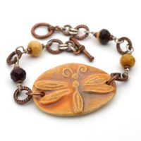 Boho Dragonfly Bracelet, Multicolor Orange Purple Mookaite Copper Silver Mixed Metal, 8 Inches Long, Fits 6 1 / 2 Inch Wrist   Natural genuine Gemstone jewelry. Buy crystal jewelry, handmade handcrafted artisan jewelry for women.  Unique handmade gift ideas. #jewelry #beadedjewelry #beadedjewelry #gift #shopping #handmadejewelry #fashion #style #product #jewelry #affiliate #ad