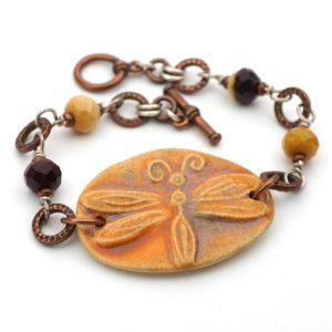 Shop Mookaite Jasper Bracelets! Boho dragonfly bracelet, multicolor orange purple mookaite copper silver mixed metal, 8 inches long, fits 6 1/2 inch wrist | Natural genuine Mookaite Jasper bracelets. Buy crystal jewelry, handmade handcrafted artisan jewelry for women.  Unique handmade gift ideas. #jewelry #beadedbracelets #beadedjewelry #gift #shopping #handmadejewelry #fashion #style #product #bracelets #affiliate #ad
