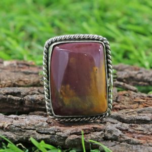 Shop Mookaite Jasper Rings! Mookaite Jasper Cushion Ring-925 Sterling Silver Ring-mookaite Jasper Ring-mookaite Jasper Gemstone Ring-cabochon Ring-handmade Ring | Natural genuine Mookaite Jasper rings, simple unique handcrafted gemstone rings. #rings #jewelry #shopping #gift #handmade #fashion #style #affiliate #ad