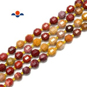 """Shop Mookaite Jasper Faceted Beads! Mookaite Jasper Prism Cut Double Point Faceted Round Beads 7x8mm 15.5"""" Strand 