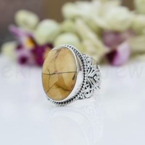 Shop Mookaite Jasper Rings! Mookaite Jasper Ring, Sterling Silver Ring, Oval Shape Stone Ring, Statement Ring, Cabochon Gemstone Ring, Designer Band Ring, Bali Design | Natural genuine Mookaite Jasper rings, simple unique handcrafted gemstone rings. #rings #jewelry #shopping #gift #handmade #fashion #style #affiliate #ad
