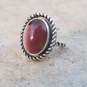 Shop Mookaite Jasper Rings! Mookaite Jasper Ring W / twisted Wire Setting And Matching Twisted Band. 10x14mm Stone. Size: 7 3 / 4 | Natural genuine Mookaite Jasper rings, simple unique handcrafted gemstone rings. #rings #jewelry #shopping #gift #handmade #fashion #style #affiliate #ad