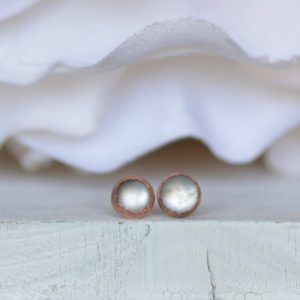 White Moonstone Earrings, Raw Stone Earrings, Electroformed Studs, Gemstone Studs, Gift For Her, Crystal Earring, Boho Studs, Copper Earring | Natural genuine Gemstone earrings. Buy crystal jewelry, handmade handcrafted artisan jewelry for women.  Unique handmade gift ideas. #jewelry #beadedearrings #beadedjewelry #gift #shopping #handmadejewelry #fashion #style #product #earrings #affiliate #ad