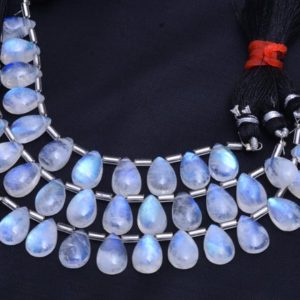 """Shop Moonstone Bead Shapes! AAA+ White Rainbow Blue Fire Moonstone 8x12mm Pear Cabochon Smooth Beads 
