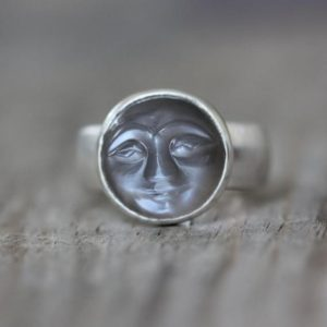 Moonstone Face Ring, Gray Moonstone Ring with Smiling Carved Moonstone Face, Wide Band Ring, Sterling Silver Ring | Natural genuine Gemstone rings, simple unique handcrafted gemstone rings. #rings #jewelry #shopping #gift #handmade #fashion #style #affiliate #ad