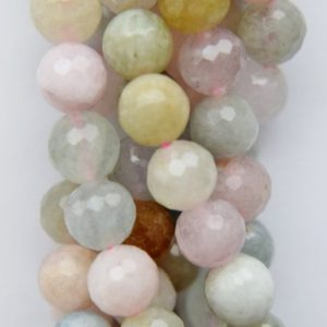 """Shop Morganite Faceted Beads! Genuine Morganite Faceted Beads – Round 8 mm Gemstone Beads – Full Strand 16"""", 50 beads, A Quality 