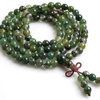 Green Moss Agate Mala Necklace, Mala Beads, 8mm Mala Necklace, 108 Green Mala Prayer Beads Knotted Mala, Yoga Gift For Her, Wrap Mala Beads | Natural genuine Gemstone jewelry. Buy crystal jewelry, handmade handcrafted artisan jewelry for women.  Unique handmade gift ideas. #jewelry #beadedjewelry #beadedjewelry #gift #shopping #handmadejewelry #fashion #style #product #jewelry #affiliate #ad
