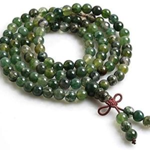 Green Moss Agate Mala Necklace, Mala Beads, 8mm Mala Necklace, 108 Green Mala Prayer Beads Knotted Mala, Yoga Gift for Her, Wrap Mala Beads | Natural genuine Gemstone necklaces. Buy crystal jewelry, handmade handcrafted artisan jewelry for women.  Unique handmade gift ideas. #jewelry #beadednecklaces #beadedjewelry #gift #shopping #handmadejewelry #fashion #style #product #necklaces #affiliate #ad
