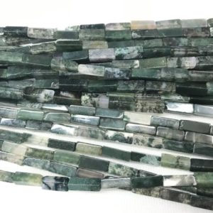 Natural Moss Agate 4x13mm Cuboid Genuine Loose Tube Beads 15 Inch Jewelry Supply Bracelet Necklace Material Support Wholesale | Natural genuine other-shape Gemstone beads for beading and jewelry making.  #jewelry #beads #beadedjewelry #diyjewelry #jewelrymaking #beadstore #beading #affiliate #ad