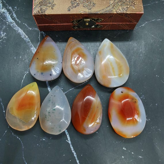 Picture Agate Pendant India Agate Moss Agate Smooth Drop Landscape Agate