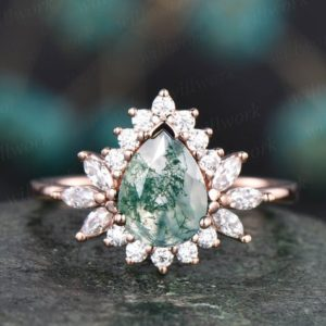 Shop Moss Agate Rings! Pear moss agate bridal ring vintage moss agate engagement ring halo ring marquise moissanite ring rose gold ring wedding anniversary gift   Natural genuine Moss Agate rings, simple unique alternative gemstone engagement rings. #rings #jewelry #bridal #wedding #jewelryaccessories #engagementrings #weddingideas #affiliate #ad