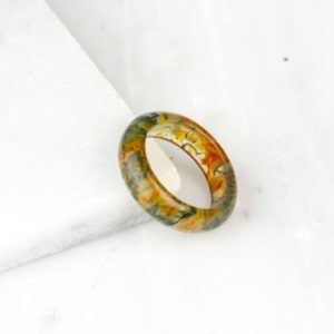 Shop Moss Agate Rings! Red Moss Agate Ring, Red Moss Agate Band, Lush Landscape Ring, Thick Stone Ring, Red Agate Ring, Red Agate Band, Moss Agate Jewelry,   Natural genuine Moss Agate rings, simple unique handcrafted gemstone rings. #rings #jewelry #shopping #gift #handmade #fashion #style #affiliate #ad