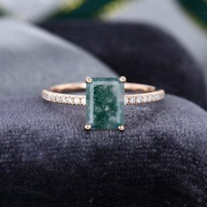 Shop Moss Agate Rings! Rose gold emerald cut Moss Agate engagement ring vintage Half eternity diamond ring vintage Bridal art deco anniversary gift for women   Natural genuine Moss Agate rings, simple unique alternative gemstone engagement rings. #rings #jewelry #bridal #wedding #jewelryaccessories #engagementrings #weddingideas #affiliate #ad