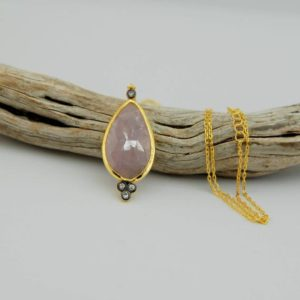 Shop Pink Sapphire Necklaces! Multy Colored Pink  Sapphire Necklace  in Sterling Silver over Gold Plated- ONLY PAIR   Natural genuine Pink Sapphire necklaces. Buy crystal jewelry, handmade handcrafted artisan jewelry for women.  Unique handmade gift ideas. #jewelry #beadednecklaces #beadedjewelry #gift #shopping #handmadejewelry #fashion #style #product #necklaces #affiliate #ad