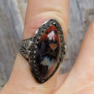 Shop Petrified Wood Rings! Native American Silver Petrified Wood Ring, Eye Shaped Cabochon, Substantial Split Shank With Applied Leaf At Shoulders, Unsigned, Size 5 Us | Natural genuine Petrified Wood rings, simple unique handcrafted gemstone rings. #rings #jewelry #shopping #gift #handmade #fashion #style #affiliate #ad
