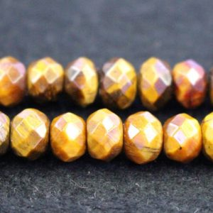 """Shop Tiger Eye Rondelle Beads! Natural AA Faceted Yellow Tiger Eye Rondelle Beads,,4x6mm 5x8mm 6x9mm Faceted Yellow Tiger Eye Rondelle beads,one strand 15"""" 