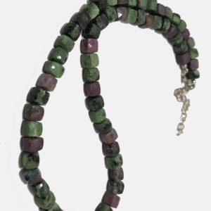 Shop Ruby Zoisite Necklaces! Natural AAA Quality Ruby Zoisite Gemstone Beads Faceted Box 6 to 7 mm Necklace Sale / Ruby Zoisite Necklace / Gift for Girlfriend / Cube | Natural genuine Ruby Zoisite necklaces. Buy crystal jewelry, handmade handcrafted artisan jewelry for women.  Unique handmade gift ideas. #jewelry #beadednecklaces #beadedjewelry #gift #shopping #handmadejewelry #fashion #style #product #necklaces #affiliate #ad