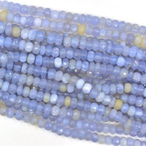 Shop Blue Lace Agate Rondelle Beads! Natural Blue Lace Agate Rondelle Shape Faceted Loose Beads 1 Strand For Making Jewelry 8X8X6 mm, Wholesale Blue Lace Agate Rondelle BU0767 | Natural genuine rondelle Blue Lace Agate beads for beading and jewelry making.  #jewelry #beads #beadedjewelry #diyjewelry #jewelrymaking #beadstore #beading #affiliate #ad