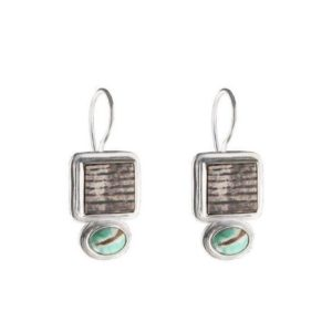 Shop Petrified Wood Jewelry! Natural Elegance Petrified Wood And Varascite Sterling Silver Earrings | Natural genuine Petrified Wood jewelry. Buy crystal jewelry, handmade handcrafted artisan jewelry for women.  Unique handmade gift ideas. #jewelry #beadedjewelry #beadedjewelry #gift #shopping #handmadejewelry #fashion #style #product #jewelry #affiliate #ad