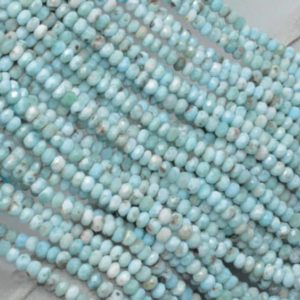 Shop Larimar Rondelle Beads! Natural Faceted Larimar Rondelle Beads AAA Quality 6MM Size available,Beads,Smooth Beads,Jewelry Making,Polished Rondelle Beads | Natural genuine rondelle Larimar beads for beading and jewelry making.  #jewelry #beads #beadedjewelry #diyjewelry #jewelrymaking #beadstore #beading #affiliate #ad