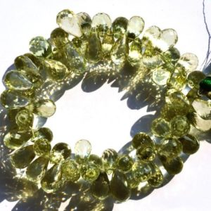 Shop Green Amethyst Beads! Natural Gemstone Brazilian Prasiolite Facet Teardrop Shape Briolettes 6×11 to 7x14MM 7.5 Inch Full Strand AAA Quality Transparent Beads | Natural genuine other-shape Green Amethyst beads for beading and jewelry making.  #jewelry #beads #beadedjewelry #diyjewelry #jewelrymaking #beadstore #beading #affiliate #ad