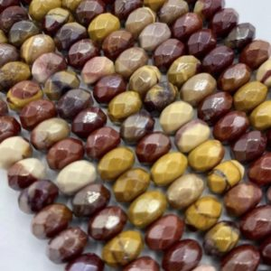 """Shop Mookaite Jasper Faceted Beads! NATURAL Gemstone Mookaite Jasper, Rondelle 5x8mm 4x6mm Full Strand 16"""" Great for JEWELRY making! Not treated in anyway! AAA Quality! 