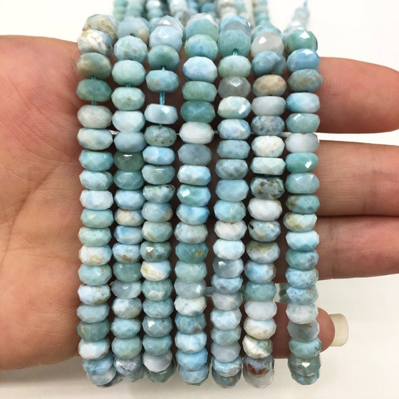 Natural Larimar Blue  Highly Polished Faceted Rondelle Gemstone Loose Bead For Jewelry Making And Fashion Design Aaa Quality 16inch