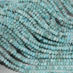 Shop Larimar Rondelle Beads! Natural Larimar Faceted Rondelle Beads AAA Quality 5.5MM Size available,Faceted Smooth Beads Jewelry Making,Polished Larimar Rondelle Beads | Natural genuine rondelle Larimar beads for beading and jewelry making.  #jewelry #beads #beadedjewelry #diyjewelry #jewelrymaking #beadstore #beading #affiliate #ad