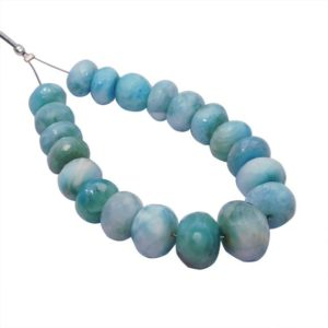 Shop Larimar Rondelle Beads! Natural Larimar Faceted Rondelle Gemstone Beads 8.5-12.5 mm Approx Graduation AAA Handmade Beads, Larimar Rondelle Beads 5'' Full Strand | Natural genuine rondelle Larimar beads for beading and jewelry making.  #jewelry #beads #beadedjewelry #diyjewelry #jewelrymaking #beadstore #beading #affiliate #ad