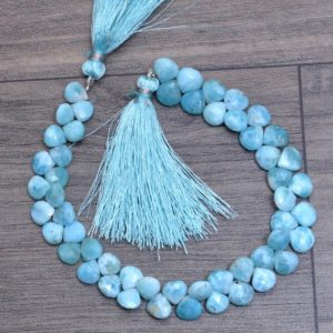 """Shop Larimar Faceted Beads! Natural Larimar Gemstone 7mm Heart Briolette Faceted Loose Beads ~ Dominican Larimar Semiprecious Gemstone Briolette for Jewelry ~ 8"""" Strand 