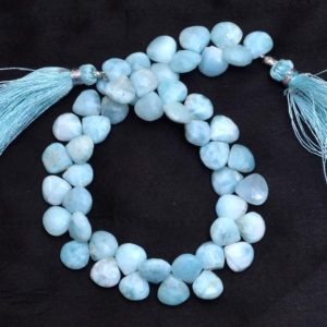 Shop Larimar Faceted Beads! Natural Larimar Gemstone 8mm Heart Faceted Briolette Beads | Dominican Larimar Loose Semi Precious Gemstone Briolette Beads | 8inch Strand | Natural genuine faceted Larimar beads for beading and jewelry making.  #jewelry #beads #beadedjewelry #diyjewelry #jewelrymaking #beadstore #beading #affiliate #ad