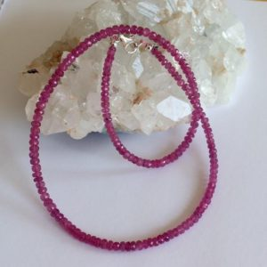 Shop Pink Sapphire Necklaces! Natural pink sapphire Necklace (pink, sapphire necklace, 93kt, 47 cm long)   Natural genuine Pink Sapphire necklaces. Buy crystal jewelry, handmade handcrafted artisan jewelry for women.  Unique handmade gift ideas. #jewelry #beadednecklaces #beadedjewelry #gift #shopping #handmadejewelry #fashion #style #product #necklaces #affiliate #ad