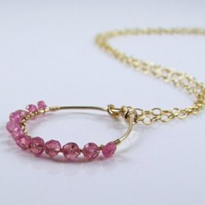 Shop Pink Sapphire Necklaces! Natural Pink Sapphire Necklace – N405   Natural genuine Pink Sapphire necklaces. Buy crystal jewelry, handmade handcrafted artisan jewelry for women.  Unique handmade gift ideas. #jewelry #beadednecklaces #beadedjewelry #gift #shopping #handmadejewelry #fashion #style #product #necklaces #affiliate #ad