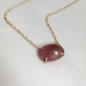 Shop Pink Sapphire Necklaces! Natural Rose Cut Pink Sapphire Necklace 14k Gold   Natural genuine Pink Sapphire necklaces. Buy crystal jewelry, handmade handcrafted artisan jewelry for women.  Unique handmade gift ideas. #jewelry #beadednecklaces #beadedjewelry #gift #shopping #handmadejewelry #fashion #style #product #necklaces #affiliate #ad