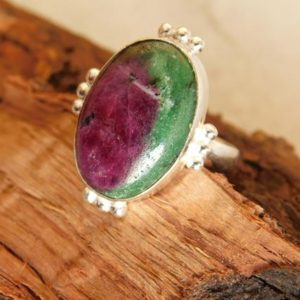 Shop Ruby Zoisite Rings! Natural Ruby zoisite Ring* sterling silver Ring* Handmade Ring* oval Ring* Ruby Zoisite gemstone ring* Statement Ring* boho stone ring*PK682 | Natural genuine Ruby Zoisite rings, simple unique handcrafted gemstone rings. #rings #jewelry #shopping #gift #handmade #fashion #style #affiliate #ad
