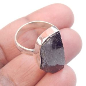 Shop Shungite Rings! Natural Shungite Stone Silver Ring, Rough Shungite Stone Silver Ring, Natural Gemstone Ring, 925 Sterling Silver Ring. | Natural genuine Shungite rings, simple unique handcrafted gemstone rings. #rings #jewelry #shopping #gift #handmade #fashion #style #affiliate #ad